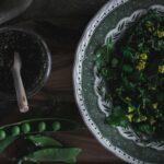Peas, kale, purple green beans and sugar peas salad